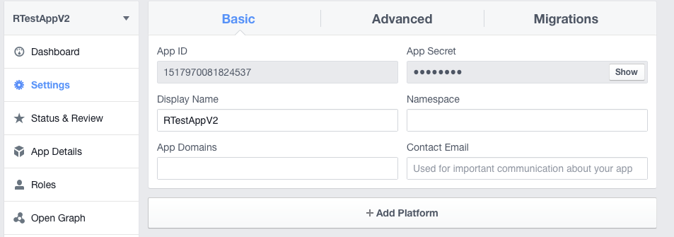 R Facebook settings tab